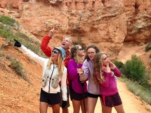 Goofing around in Bryce Canyon after the race