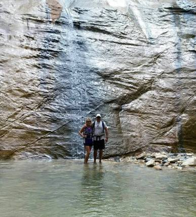 Under a small waterfall