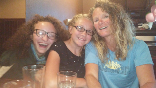 Enjoying a post-race meal with my beautiful daughters